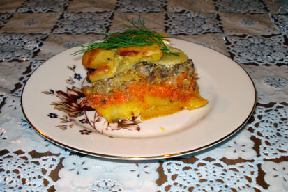 Картофель, запеченный с сайрой